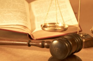 gavel and open book, shallow dof